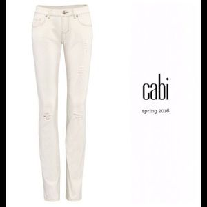 Cabi Slim Deconstructed Skinny Jeans White Size 4